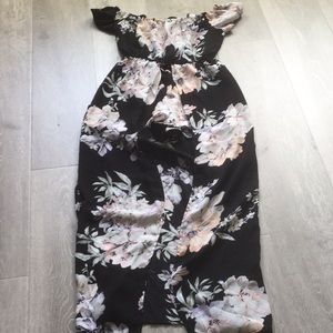 Black size small floral maxi length dress